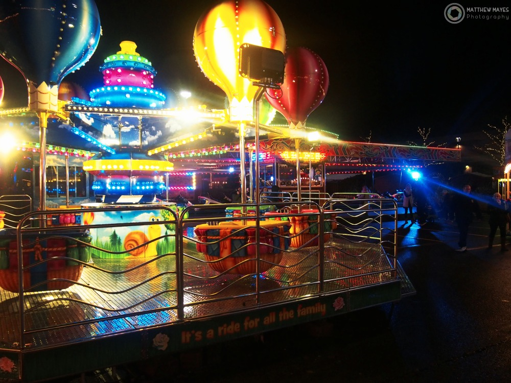 A shot of the fair ride at Christmas Winter Wonderland in York, UK.